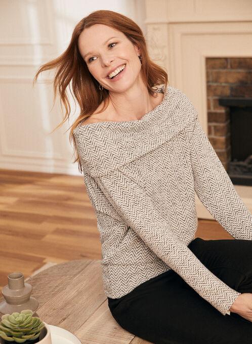Bardot Neckline Sweater Knit Top, Black