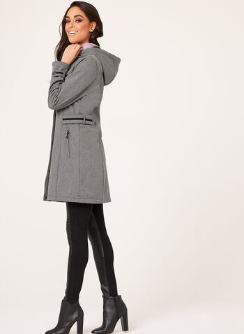Novelti - Heather Print Softshell Coat, Grey, hi-res