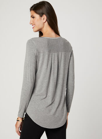 Long Sleeve Satin Trim T-Shirt, Grey, hi-res