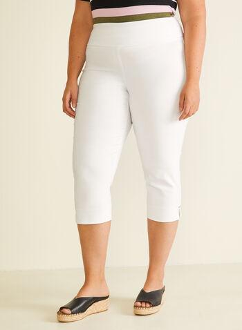 Bengaline Pull-On Capri Pants, White,  capris, pull-on, bengaline, slim leg, spring summer 2020