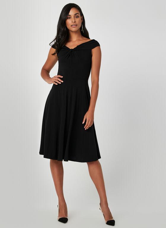 Off-the-Shoulder Jersey Dress, Black, hi-res