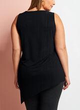 Asymmetric Needle Rib Knit Tunic, Black, hi-res