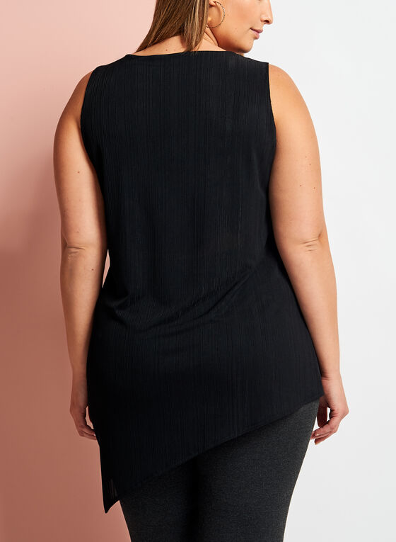 Asymmetric Needle Rib Knit Tunic, Black, hi-res