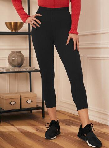 Legging capri pull-on, Noir,  printemps été 2020, capri, legging, pull-on, taille élastique, ajusté, basique, point de Rome
