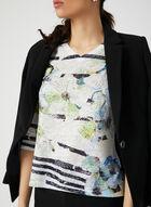 T-shirt à manches ¾ avec fleurs et cristaux, Bleu, hi-res