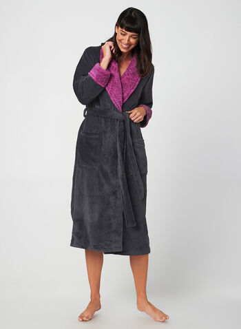 Claudel Lingerie - Belted Robe, Grey, hi-res,  Claudel Lingerie, bathrobe, robe, belt, fall 2019, winter 2019