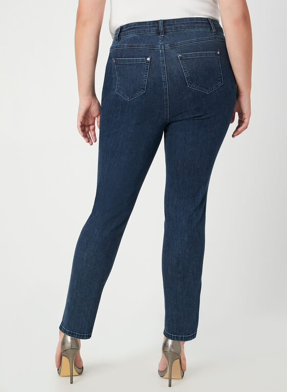 Jeans coupe moderne avec strass, Bleu