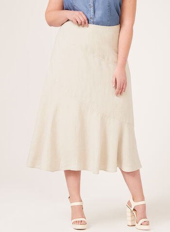 Midi Linen Skirt, Off White, hi-res