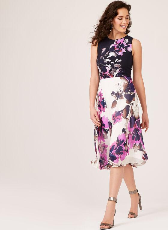 Sleeveless Floral Print Dress, Blue, hi-res