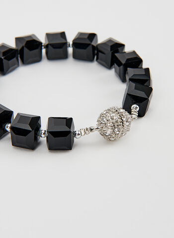 Bracelet avec perles et cubes, Noir, hi-res