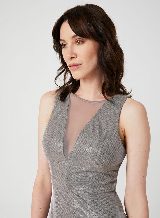 Robe sirène en fibres métallisées, Blanc cassé