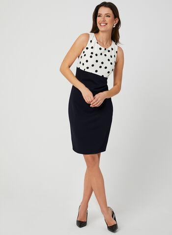 Dress & Jacket Set, Blue, hi-res,  Spring 2019, polka-dot, knit, day dress, sleeveless