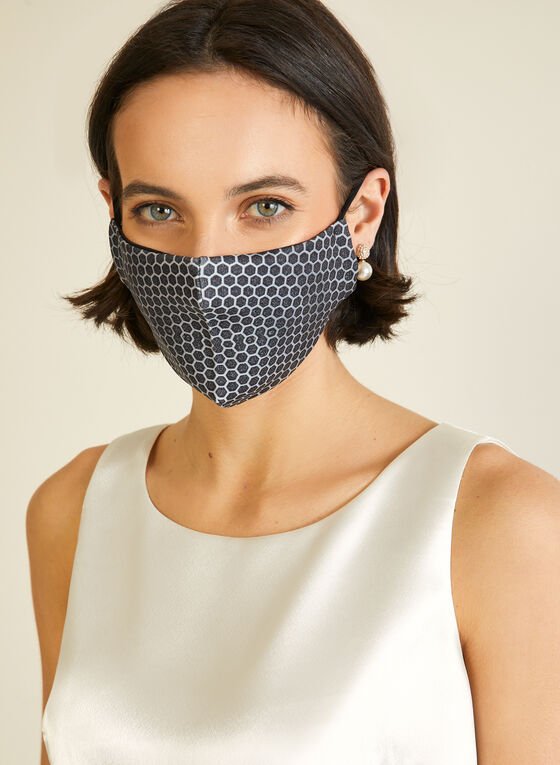 Honeycomb Print Mask With Filters, Black