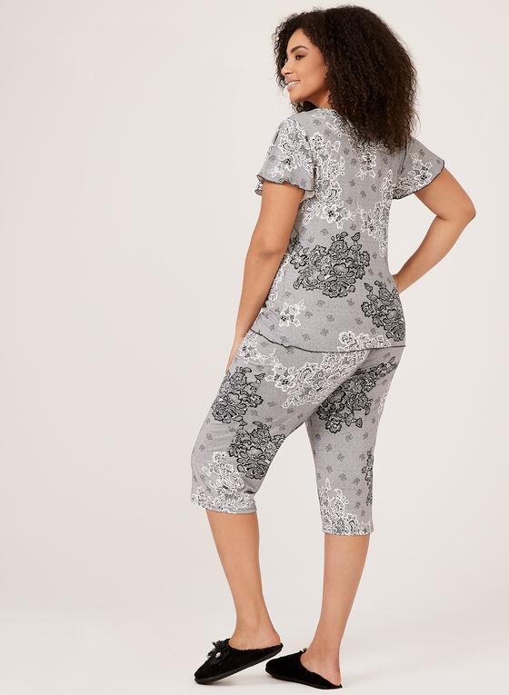 Ensemble pyjama à motif dentelle, Noir, hi-res