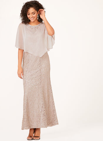 Sequin Lace Dress with Chiffon Poncho, Pink, hi-res