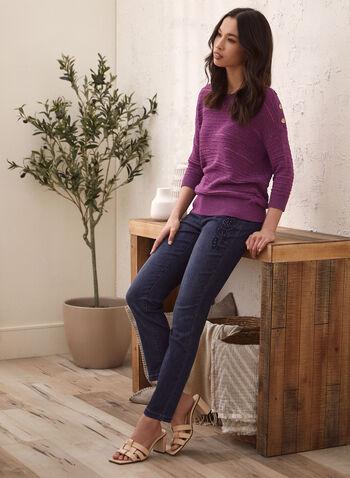 Pull en tricot à détail boutons, Violet,  pull, chandail, tricot, encolre ronde, col rond, boutons, côtelé, manches coude, printemps été 2021