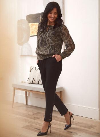 Button Detail Pants, Black,  fall winter 2021, bottoms, pants, slim leg, signature, pocketed, faux pockets, metallic buttons