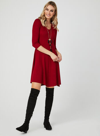 Fit & Flare Knit Dress, Red, hi-res