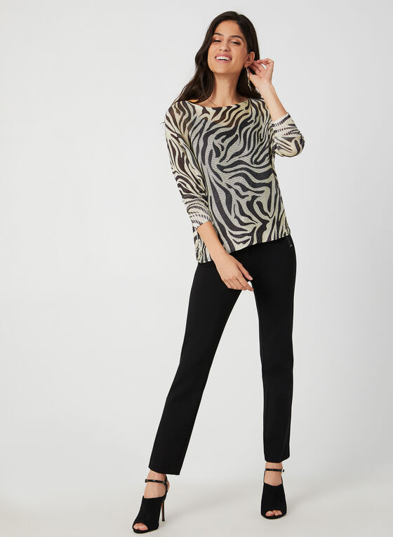 M Made in Italy - Animal Print Knit Sweater, White, hi-res
