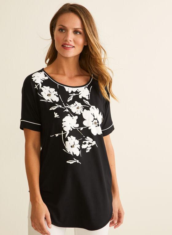Flower & Bead Appliqué T-Shirt, Black