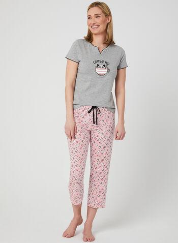 René Rofé – Cat & Coffee Appliqué, Brown, hi-res,  cotton, t-shirt, spring 2019