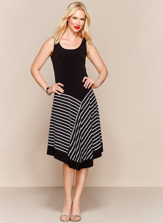 Stripe Print Handkerchief Midi Dress, Black, hi-res