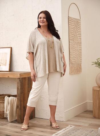 Embellished Hem Capris, Off White,  capris, denim, pockets, embellished, sequins, frayed, signature, spring summer 2020