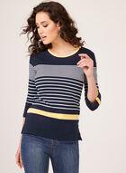 Stripe Print ¾ Sleeve Top, Blue, hi-res