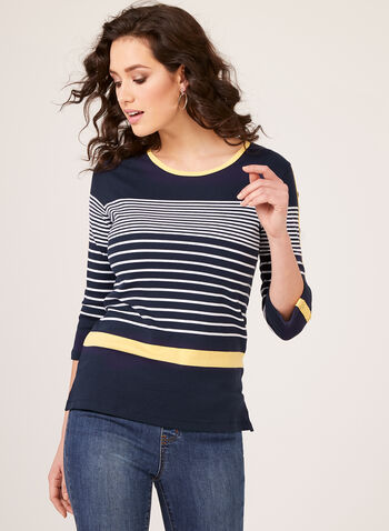 Variegated Stripe Long Sleeve Cotton T-Shirt, Blue, hi-res