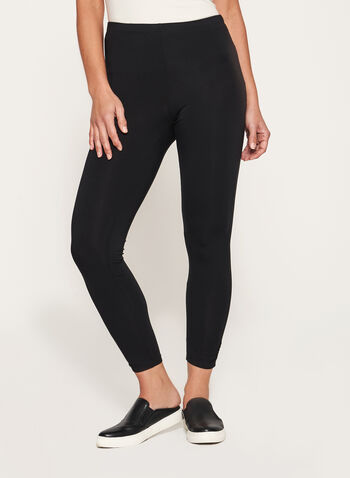 Ruched Ankle Leggings, Black, hi-res