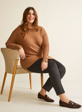 Dolman Sleeve Sweater, Brown,  fall winter 2020, sweater, knit, dolman sleeve, buttons, ribbed, slits