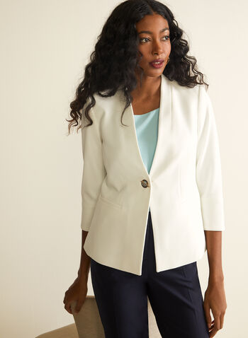 Grommet Detail Crepe Blazer, Off White,  blazer, 3/4 sleeves, shoulder pads, grommets, crepe, single button, spring summer 2020