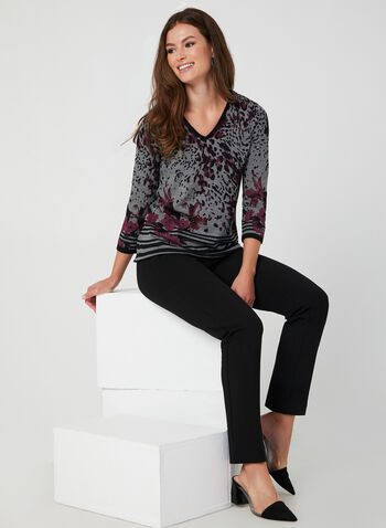 Animal Print Sweater, Purple, hi-res,  fall winter 2019, stretchy knit, 3/4 sleeves, V neck sweater