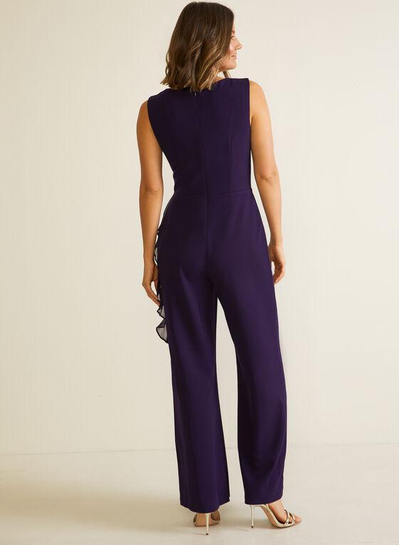 Wide Leg Ruffle Detail Jumpsuit, Purple
