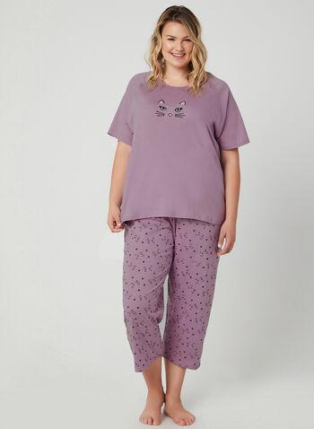 Bellina - Cat Print 2-Piece Pyjama Set, Purple, hi-res,  T-shirt, short sleeves, capris, cotton, spring 2019, summer 2019