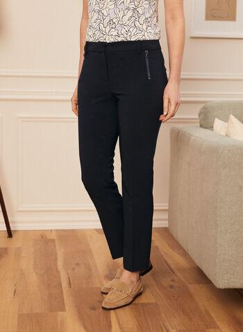 Pantalon coupe cité à jambe droite, Bleu,  pantalon, cité, jambe droite, pinces, poches, rabat, zip, printemps été 2021
