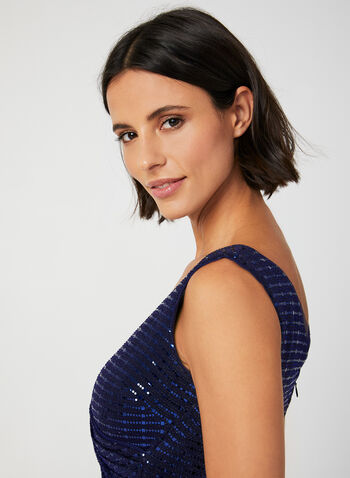 Sleeveless Sequin Dress, Blue, hi-res,  sequin, sleeveless, mesh, faux wrap, sheath, cocktail dress, midi, fall 2019, winter 2019