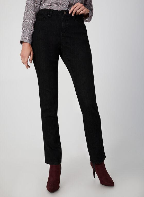 Simon Chang - Jeans coupe moderne à broderies, Noir