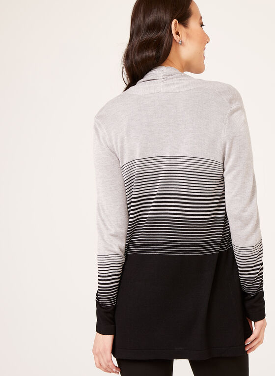 Stripe Print Open Front Cardigan, Black, hi-res