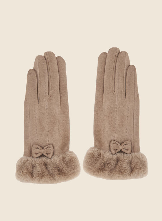 Bow Detail Faux Suede Gloves, Brown