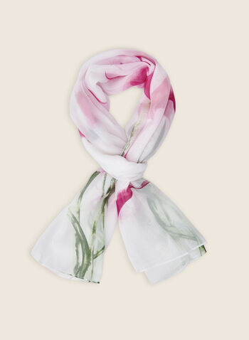 Calla Lily Print Oblong Scarf, Pink,  scarf, oblong scarf, lily, flower print, floral print, spring 2020, summer 2020