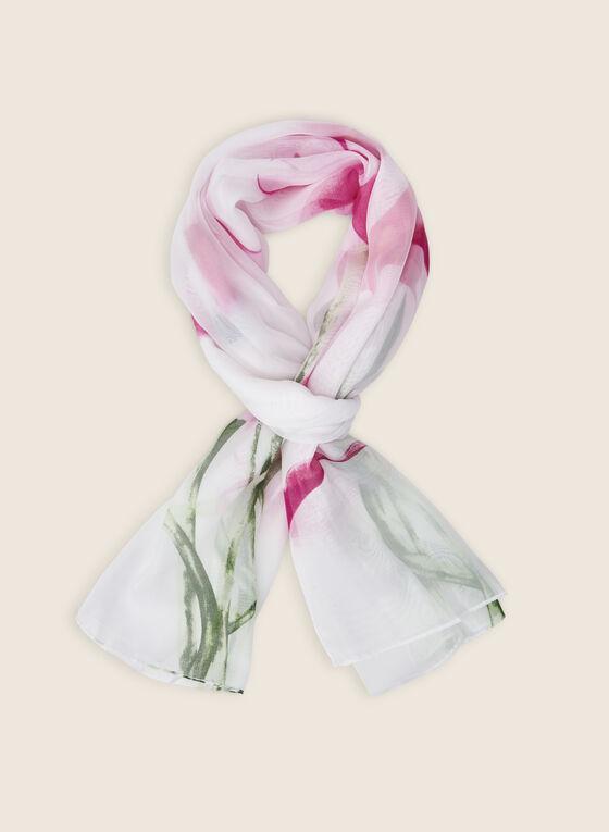 Foulard oblong léger à fleurs, Rose