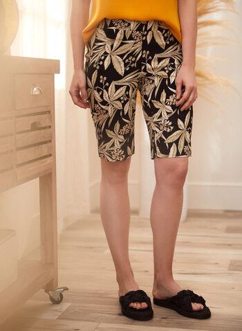 Tropical Floral Bermuda Shorts, Green,  spring summer 2021, made in Canada, bottoms, shorts, bermuda, tropical print, floral print, tropical, floral, pull on, elastic waist, slim leg