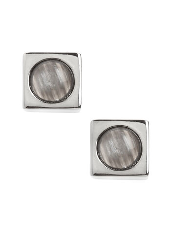 Square Marble Stone Earrings, Grey, hi-res