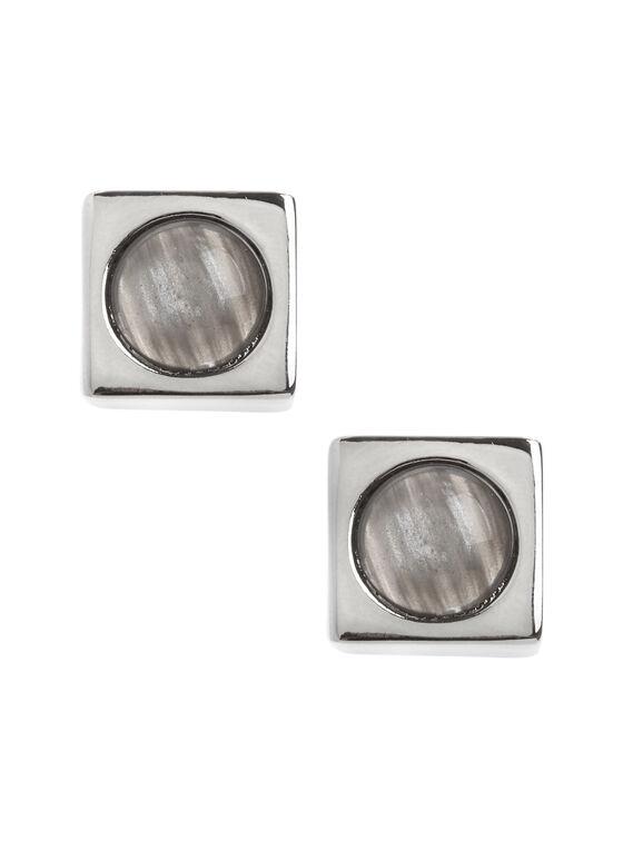 Boucles d'oreilles carrées avec pierre marbrée, Gris, hi-res