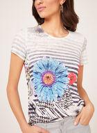T-shirt fleuri et rayé à manches courtes et strass, Bleu, hi-res