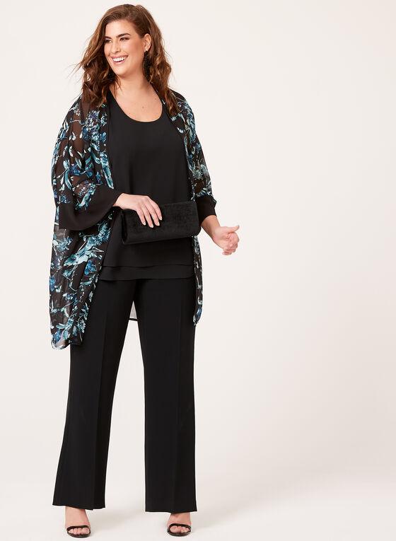 ¾ Sleeve Floral Print Kimono , Black, hi-res