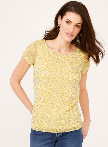 Floral Print Mesh Top, Yellow, hi-res