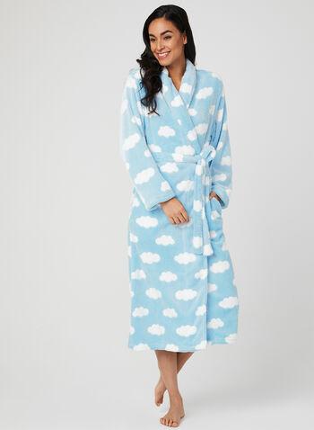 Robe de chambre en polaire , Bleu, hi-res