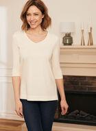T-shirt long en modal et coton, Blanc cassé